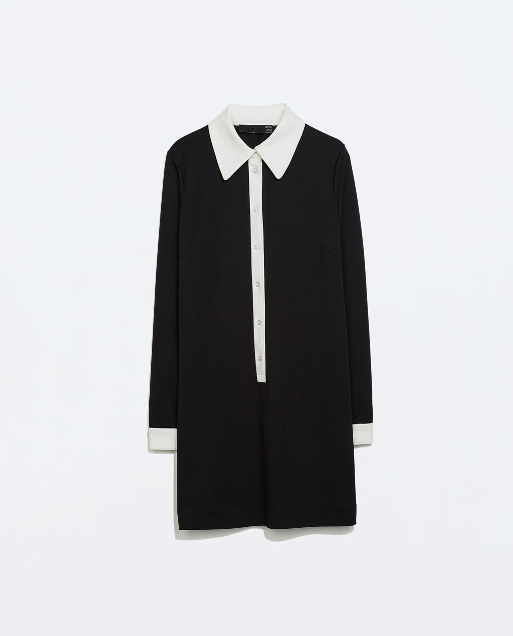 Dress With Contrasting Collar - style: shirt; length: mid thigh; neckline: shirt collar/peter pan/zip with opening; secondary colour: white; predominant colour: black; occasions: casual, creative work; fit: straight cut; fibres: polyester/polyamide - stretch; sleeve length: long sleeve; sleeve style: standard; pattern type: fabric; pattern size: standard; pattern: colourblock; texture group: other - light to midweight; trends: sixties; season: a/w 2014