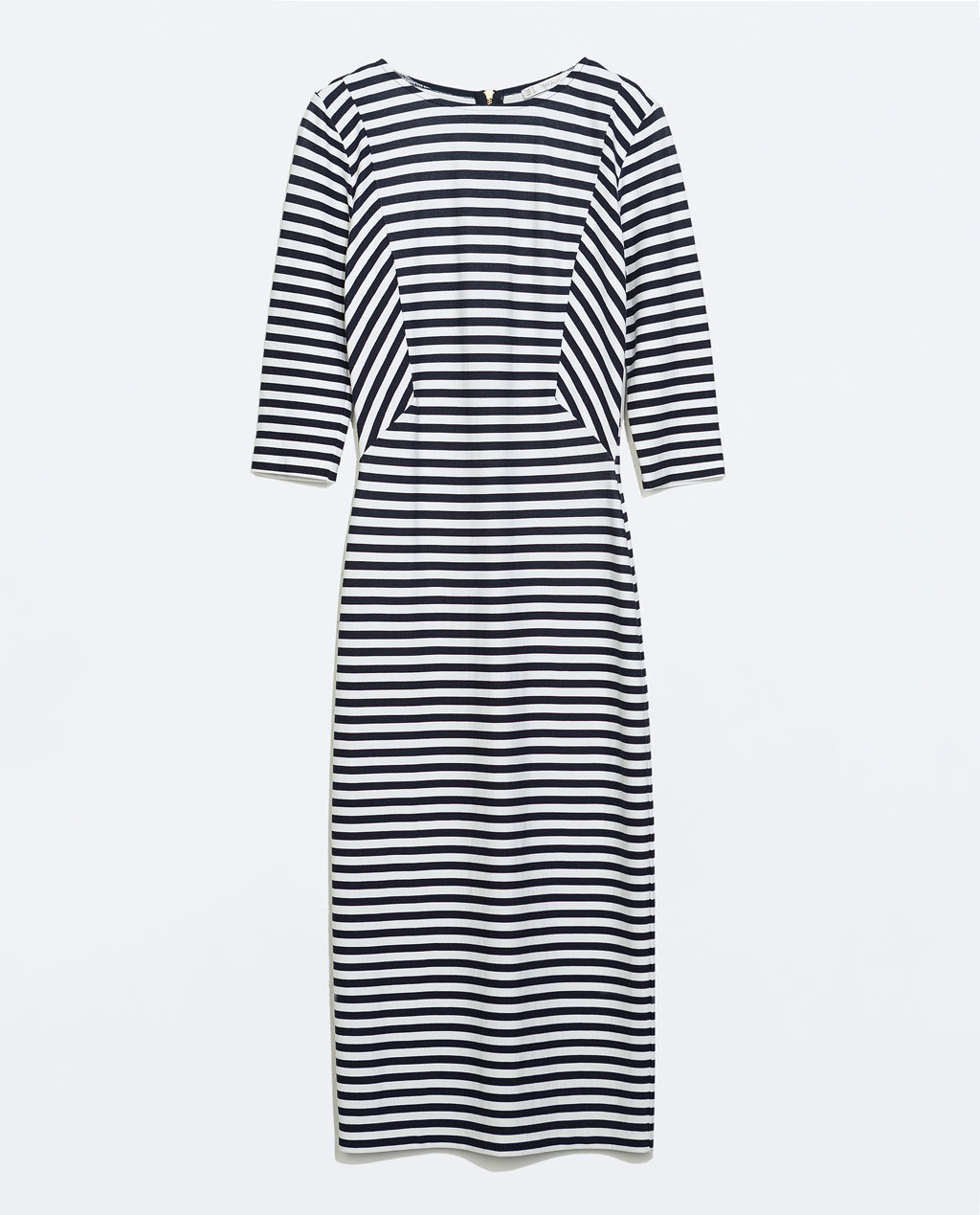 Striped Dress - style: shift; length: below the knee; pattern: horizontal stripes; secondary colour: white; predominant colour: navy; occasions: casual, creative work; fit: body skimming; fibres: viscose/rayon - stretch; neckline: crew; sleeve length: 3/4 length; sleeve style: standard; texture group: jersey - clingy; pattern type: fabric; pattern size: standard; season: a/w 2014