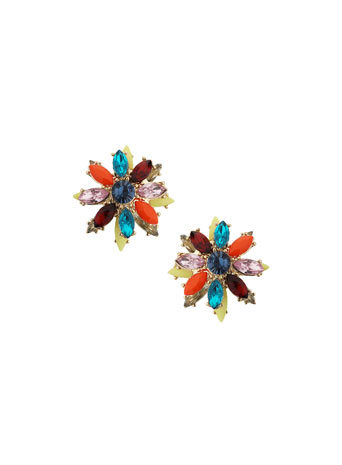 Bright Flower Studs - occasions: evening, occasion; predominant colour: multicoloured; style: stud; length: short; size: small/fine; material: chain/metal; fastening: pierced; finish: plain; embellishment: jewels/stone; season: a/w 2014; multicoloured: multicoloured
