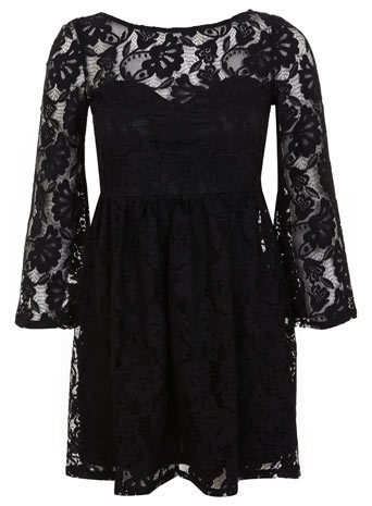 Petites Black Lace Dress - length: mid thigh; neckline: round neck; predominant colour: black; occasions: casual, evening; fit: fitted at waist & bust; style: fit & flare; sleeve length: 3/4 length; sleeve style: standard; texture group: lace; pattern: patterned/print; season: a/w 2014