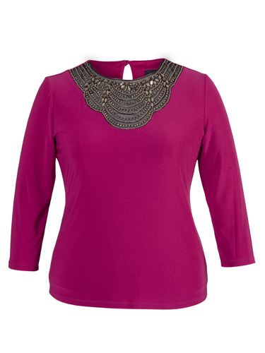 Fuchsia Embellished Top With Sleeve - pattern: plain; bust detail: added detail/embellishment at bust; predominant colour: hot pink; secondary colour: bronze; occasions: casual, evening, creative work; length: standard; style: top; fibres: polyester/polyamide - stretch; fit: body skimming; neckline: crew; back detail: keyhole/peephole detail at back; sleeve length: 3/4 length; sleeve style: standard; pattern type: fabric; texture group: jersey - stretchy/drapey; embellishment: beading; season: a/w 2014