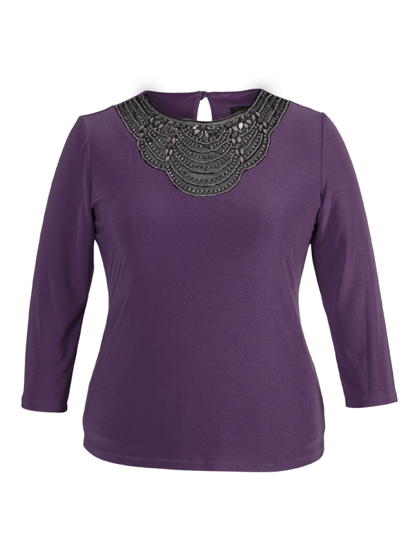 Aubergine Embellished Top With 3/4 Sleeve - pattern: plain; predominant colour: aubergine; occasions: evening; length: standard; style: top; fit: body skimming; neckline: crew; sleeve length: 3/4 length; sleeve style: standard; pattern type: fabric; texture group: jersey - stretchy/drapey; embellishment: beading; season: a/w 2014; embellishment location: bust