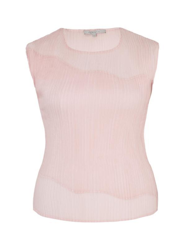 Powder Pink Chiffon Trim Crush Pleat Top - pattern: plain; sleeve style: sleeveless; predominant colour: ivory/cream; occasions: casual, evening; length: standard; style: top; fibres: polyester/polyamide - 100%; fit: body skimming; neckline: crew; sleeve length: sleeveless; texture group: sheer fabrics/chiffon/organza etc.; pattern type: fabric; season: a/w 2014