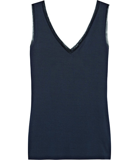 Ona V Neck Tank Top - neckline: v-neck; pattern: plain; sleeve style: sleeveless; style: vest top; predominant colour: teal; occasions: casual; length: standard; fibres: viscose/rayon - stretch; fit: body skimming; sleeve length: sleeveless; pattern type: fabric; texture group: jersey - stretchy/drapey; season: a/w 2014