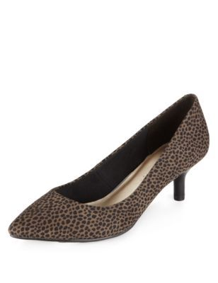 Pointed Toe Mid Heel Animal Print Court Shoes With Insolia - predominant colour: chocolate brown; secondary colour: camel; material: fabric; heel height: mid; heel: kitten; toe: pointed toe; style: courts; finish: plain; pattern: animal print; occasions: creative work; season: a/w 2014