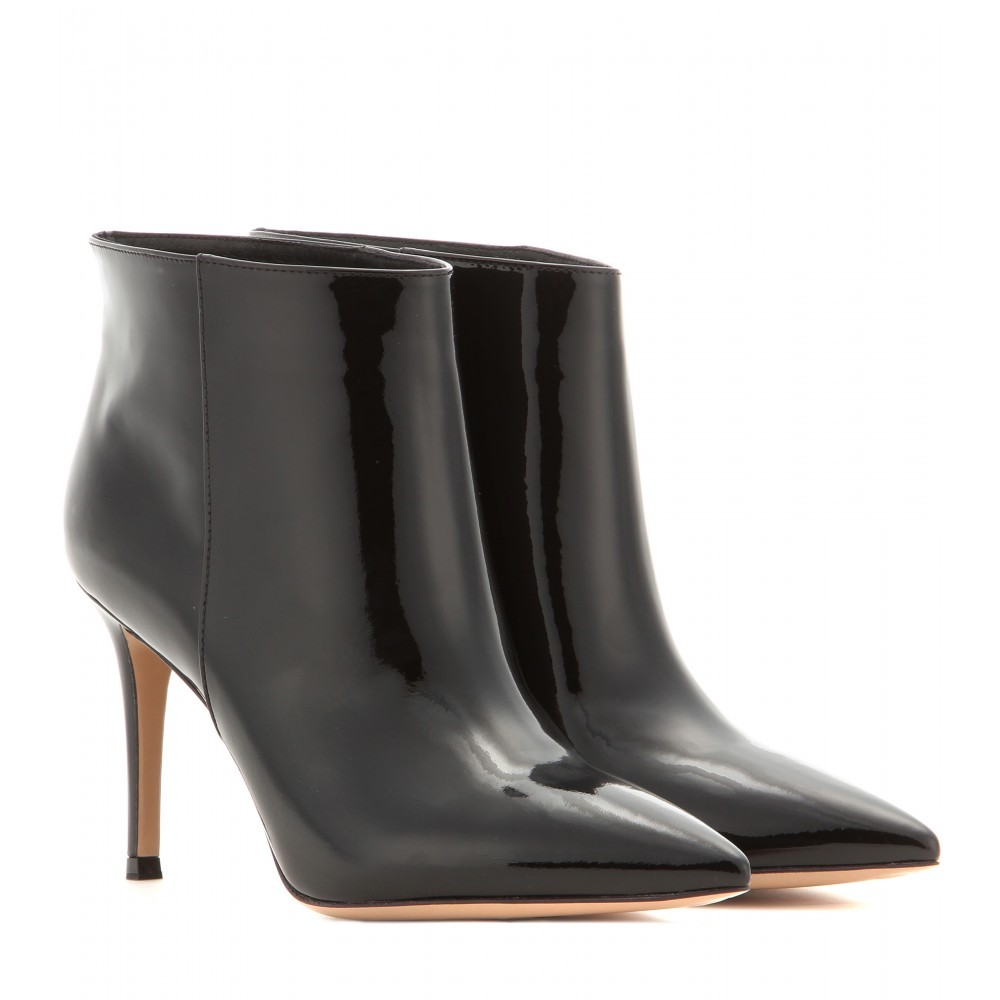 Stilo Patent Leather Ankle Boots - predominant colour: black; occasions: casual, creative work; material: leather; heel height: high; heel: stiletto; toe: pointed toe; boot length: ankle boot; style: standard; finish: patent; pattern: plain; season: a/w 2014