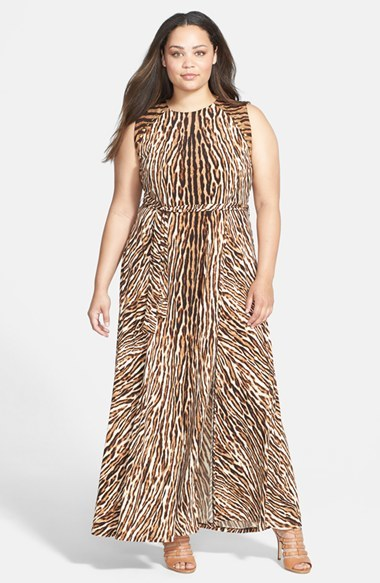 'mowani' Studded Print Jersey Maxi Dress (Plus Size) - sleeve style: sleeveless; style: maxi dress; length: ankle length; predominant colour: chocolate brown; secondary colour: tan; occasions: evening; fit: fitted at waist & bust; fibres: polyester/polyamide - stretch; neckline: crew; hip detail: soft pleats at hip/draping at hip/flared at hip; waist detail: narrow waistband; shoulder detail: added shoulder detail; sleeve length: sleeveless; pattern type: fabric; pattern size: big & busy; pattern: animal print; texture group: jersey - stretchy/drapey; embellishment: studs; trends: optic prints; season: a/w 2014