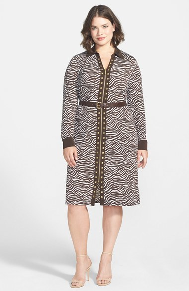'savannah Zebra' Belted Studded Zip Front Shirtdress (Plus Size) - style: shirt; length: below the knee; neckline: shirt collar/peter pan/zip with opening; waist detail: belted waist/tie at waist/drawstring; secondary colour: ivory/cream; predominant colour: chocolate brown; occasions: evening, creative work; fit: body skimming; fibres: polyester/polyamide - stretch; sleeve length: long sleeve; sleeve style: standard; texture group: jersey - clingy; pattern type: fabric; pattern size: big & busy; pattern: animal print; embellishment: studs; trends: optic prints; season: a/w 2014; embellishment location: bust