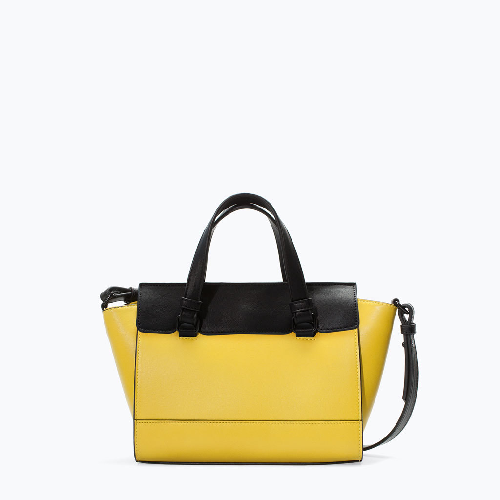 Mini City Bag - predominant colour: yellow; secondary colour: black; occasions: casual, creative work; type of pattern: standard; style: shoulder; length: across body/long; size: standard; material: faux leather; finish: plain; pattern: colourblock; trends: zesty shades; season: a/w 2014