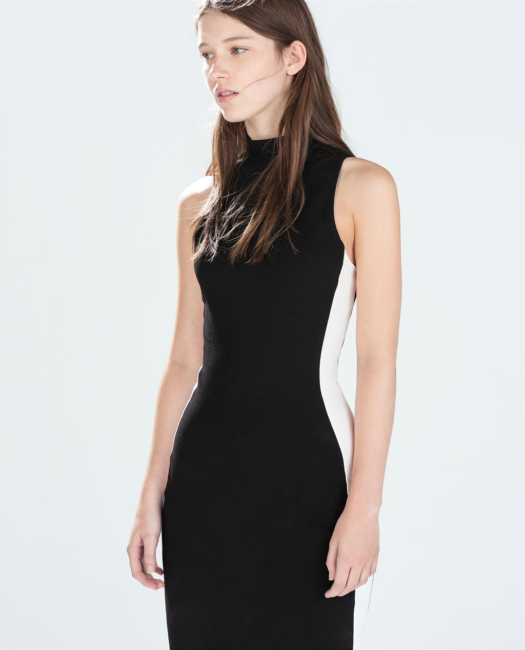 Tube Dress With A Side Stripe - length: below the knee; fit: tight; sleeve style: sleeveless; neckline: high neck; style: bodycon; secondary colour: white; predominant colour: black; occasions: casual, evening, creative work; fibres: viscose/rayon - stretch; sleeve length: sleeveless; texture group: jersey - clingy; pattern type: fabric; pattern size: light/subtle; pattern: colourblock; season: a/w 2014; wardrobe: highlight