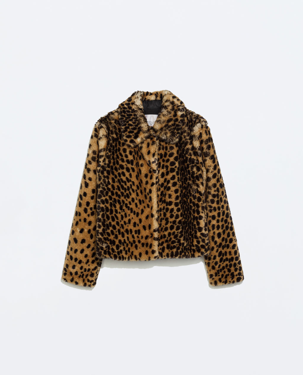 Printed Furry Jacket - length: standard; predominant colour: tan; secondary colour: black; occasions: casual, evening; fit: straight cut (boxy); fibres: acrylic - mix; style: fur coat; collar: shirt collar/peter pan/zip with opening; sleeve length: long sleeve; sleeve style: standard; texture group: fur; collar break: high; pattern type: fabric; pattern size: standard; pattern: animal print; trends: faux fur; season: a/w 2014