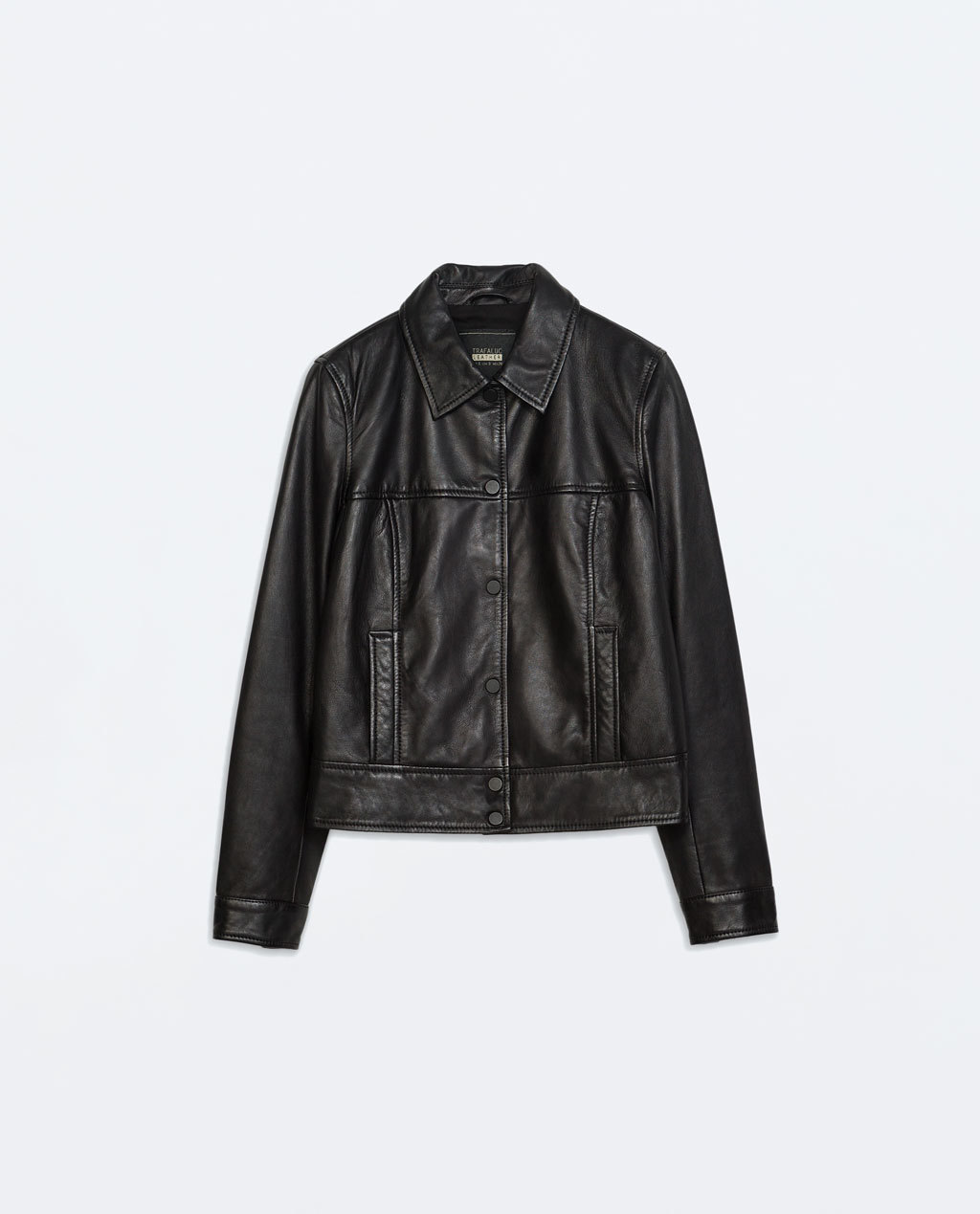 Leather Jacket - pattern: plain; style: cropped; predominant colour: black; occasions: casual, evening; fit: straight cut (boxy); fibres: leather - 100%; collar: shirt collar/peter pan/zip with opening; sleeve length: long sleeve; sleeve style: standard; texture group: leather; collar break: high/illusion of break when open; pattern type: fabric; season: a/w 2014; length: cropped