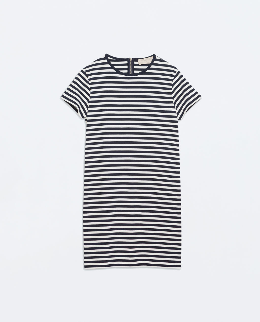 Striped Dress - style: t-shirt; length: mid thigh; pattern: horizontal stripes; secondary colour: white; predominant colour: navy; occasions: casual, creative work; fit: straight cut; fibres: cotton - 100%; neckline: crew; sleeve length: short sleeve; sleeve style: standard; texture group: jersey - clingy; pattern type: fabric; pattern size: standard; season: a/w 2014; embellishment location: back