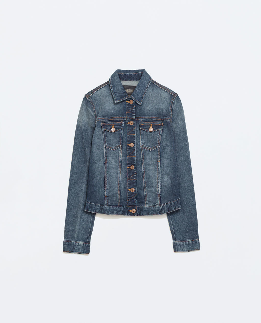 Washed Denim Jacket - pattern: plain; style: denim; predominant colour: denim; secondary colour: denim; occasions: casual; length: standard; fit: straight cut (boxy); fibres: cotton - stretch; collar: shirt collar/peter pan/zip with opening; sleeve length: long sleeve; sleeve style: standard; texture group: denim; collar break: high/illusion of break when open; pattern type: fabric; season: a/w 2014; embellishment location: bust