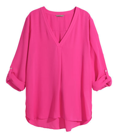 + V Neck Blouse - neckline: low v-neck; pattern: plain; length: below the bottom; style: blouse; predominant colour: hot pink; occasions: work, creative work; fibres: polyester/polyamide - 100%; fit: body skimming; back detail: longer hem at back than at front; sleeve length: 3/4 length; sleeve style: standard; texture group: sheer fabrics/chiffon/organza etc.; pattern type: fabric; trends: zesty shades; season: a/w 2014