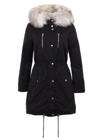 Black Luxe Fur Parka - pattern: plain; length: below the bottom; style: parka; back detail: hood; collar: high neck; secondary colour: stone; predominant colour: black; occasions: casual; fit: straight cut (boxy); fibres: polyester/polyamide - mix; hip detail: subtle/flattering hip detail; sleeve length: long sleeve; sleeve style: standard; texture group: technical outdoor fabrics; collar break: high; pattern type: fabric; season: a/w 2014