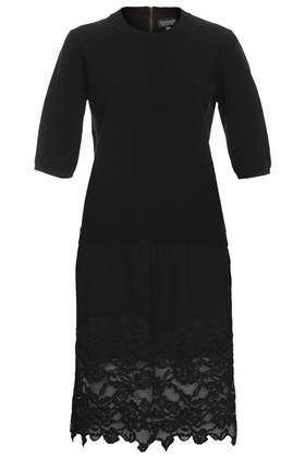 Hybrid Dress - style: shift; pattern: plain; predominant colour: black; occasions: casual, evening, occasion, creative work; length: just above the knee; fit: straight cut; fibres: polyester/polyamide - 100%; neckline: crew; sleeve length: short sleeve; sleeve style: standard; texture group: knits/crochet; pattern type: knitted - fine stitch; embellishment: lace; season: a/w 2014; wardrobe: highlight; embellishment location: hem