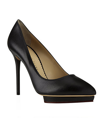 Debbie Leather Pump - predominant colour: black; occasions: evening, occasion; material: leather; heel: stiletto; toe: pointed toe; style: courts; finish: plain; pattern: plain; heel height: very high; shoe detail: platform; season: a/w 2014