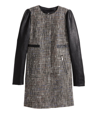 Coat In A Textured Weave - collar: round collar/collarless; style: single breasted; pattern: herringbone/tweed; length: mid thigh; predominant colour: black; occasions: casual, creative work; fit: straight cut (boxy); fibres: polyester/polyamide - mix; sleeve length: long sleeve; sleeve style: standard; collar break: high; pattern type: fabric; pattern size: standard; texture group: woven bulky/heavy; season: a/w 2014; wardrobe: highlight; embellishment: contrast fabric; embellishment location: hip, sleeve/cuff