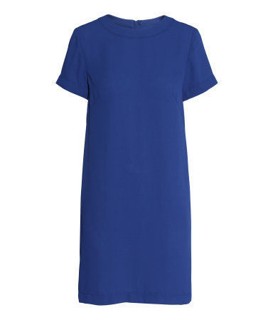 Short Sleeved Dress - style: shift; pattern: plain; predominant colour: royal blue; occasions: work, creative work; length: just above the knee; fit: straight cut; fibres: polyester/polyamide - 100%; neckline: crew; sleeve length: short sleeve; sleeve style: standard; pattern type: fabric; texture group: woven light midweight; season: a/w 2014