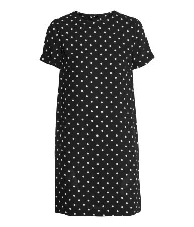 Short Sleeved Dress - style: shift; length: mid thigh; pattern: polka dot; secondary colour: white; predominant colour: black; occasions: casual, creative work; fit: straight cut; fibres: polyester/polyamide - 100%; neckline: crew; sleeve length: short sleeve; sleeve style: standard; pattern type: fabric; pattern size: standard; texture group: woven light midweight; season: a/w 2014