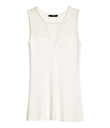 Ribbed Top - pattern: plain; sleeve style: sleeveless; predominant colour: white; occasions: casual, creative work; length: standard; style: top; fibres: viscose/rayon - stretch; fit: body skimming; neckline: crew; sleeve length: sleeveless; pattern type: fabric; texture group: jersey - stretchy/drapey; season: a/w 2014; embellishment: contrast fabric; embellishment location: bust