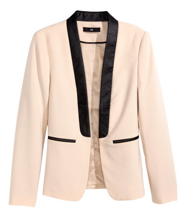 Figure Fit Jacket - style: single breasted tuxedo; collar: shawl/waterfall; predominant colour: nude; secondary colour: black; occasions: evening, creative work; length: standard; fit: tailored/fitted; fibres: polyester/polyamide - stretch; sleeve length: long sleeve; sleeve style: standard; collar break: low/open; pattern type: fabric; pattern size: light/subtle; pattern: colourblock; texture group: woven light midweight; season: a/w 2014; hip detail: front pockets at hip