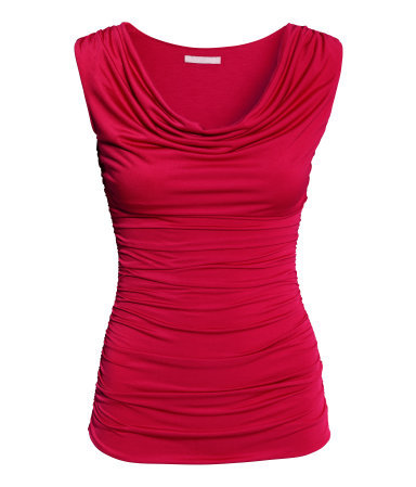 Draped Top - neckline: cowl/draped neck; pattern: plain; sleeve style: sleeveless; waist detail: twist front waist detail/nipped in at waist on one side/soft pleats/draping/ruching/gathering waist detail; occasions: evening; length: standard; style: top; fibres: polyester/polyamide - stretch; fit: tight; hip detail: ruching/gathering at hip; shoulder detail: flat/draping pleats/ruching/gathering at shoulder; sleeve length: sleeveless; texture group: jersey - clingy; bust detail: tiers/frills/bulky drapes/pleats; pattern type: fabric; predominant colour: raspberry; trends: zesty shades; season: a/w 2014