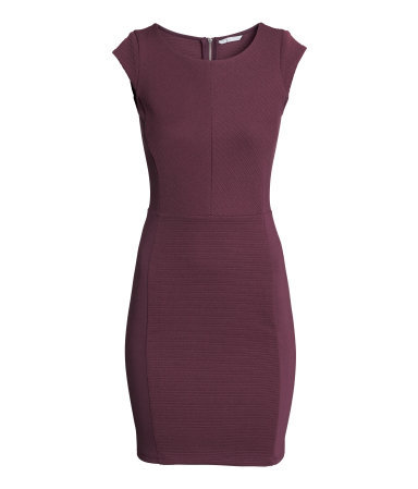 Textured Dress - neckline: round neck; sleeve style: capped; fit: tight; pattern: plain; style: bodycon; predominant colour: aubergine; occasions: evening; length: just above the knee; fibres: viscose/rayon - stretch; sleeve length: sleeveless; texture group: jersey - clingy; pattern type: fabric; season: a/w 2014