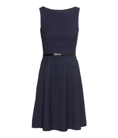 Sleeveless Dress - neckline: slash/boat neckline; sleeve style: sleeveless; pattern: polka dot; waist detail: belted waist/tie at waist/drawstring; predominant colour: navy; occasions: work; length: just above the knee; fit: fitted at waist & bust; style: fit & flare; fibres: polyester/polyamide - stretch; hip detail: soft pleats at hip/draping at hip/flared at hip; sleeve length: sleeveless; pattern type: fabric; pattern size: light/subtle; texture group: woven light midweight; season: a/w 2014