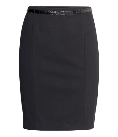 Pencil Skirt - pattern: plain; style: pencil; fit: tailored/fitted; waist detail: belted waist/tie at waist/drawstring; waist: mid/regular rise; predominant colour: black; occasions: work, creative work; length: just above the knee; fibres: polyester/polyamide - stretch; pattern type: fabric; texture group: other - light to midweight; season: a/w 2014