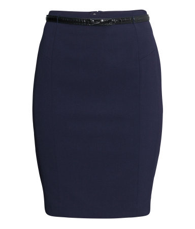 Pencil Skirt - pattern: plain; style: pencil; fit: tailored/fitted; waist detail: belted waist/tie at waist/drawstring; waist: mid/regular rise; predominant colour: black; occasions: work; length: just above the knee; fibres: polyester/polyamide - stretch; pattern type: fabric; texture group: other - light to midweight; season: a/w 2014