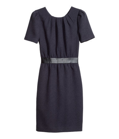 Dress In A Textured Weave - style: shift; fit: tailored/fitted; waist detail: embellishment at waist/feature waistband; bust detail: ruching/gathering/draping/layers/pintuck pleats at bust; predominant colour: navy; occasions: work; length: just above the knee; fibres: polyester/polyamide - stretch; neckline: crew; sleeve length: short sleeve; sleeve style: standard; pattern type: fabric; pattern size: light/subtle; pattern: patterned/print; texture group: woven light midweight; season: a/w 2014