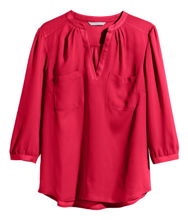 V Neck Blouse - pattern: plain; style: blouse; predominant colour: true red; occasions: casual, work, creative work; length: standard; neckline: collarstand & mandarin with v-neck; fibres: polyester/polyamide - 100%; fit: body skimming; sleeve length: 3/4 length; sleeve style: standard; texture group: sheer fabrics/chiffon/organza etc.; pattern type: fabric; trends: zesty shades; season: a/w 2014