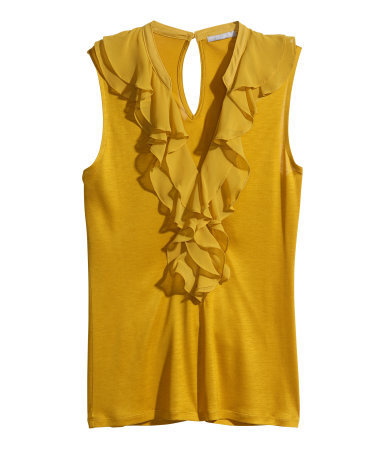 Frilled Top - neckline: low v-neck; pattern: plain; sleeve style: sleeveless; predominant colour: mustard; occasions: evening, creative work; length: standard; style: top; fibres: viscose/rayon - 100%; fit: body skimming; back detail: keyhole/peephole detail at back; sleeve length: sleeveless; bust detail: bulky details at bust; pattern type: fabric; texture group: jersey - stretchy/drapey; season: a/w 2014; wardrobe: highlight
