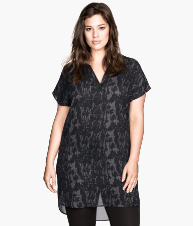 + Patterned Tunic - neckline: v-neck; style: tunic; waist detail: belted waist/tie at waist/drawstring; predominant colour: charcoal; secondary colour: black; occasions: casual, creative work; fibres: polyester/polyamide - 100%; fit: loose; length: mid thigh; back detail: longer hem at back than at front; sleeve length: short sleeve; sleeve style: standard; texture group: sheer fabrics/chiffon/organza etc.; pattern type: fabric; pattern size: standard; pattern: patterned/print; season: a/w 2014