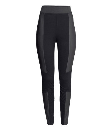 + Biker Leggings - length: standard; style: leggings; waist detail: elasticated waist; waist: high rise; secondary colour: charcoal; predominant colour: black; occasions: casual; fibres: viscose/rayon - stretch; texture group: jersey - clingy; fit: skinny/tight leg; pattern type: fabric; pattern: colourblock; season: a/w 2014; pattern size: standard (bottom)
