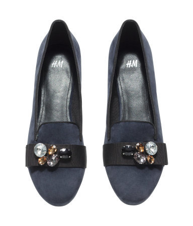 Loafers - predominant colour: navy; secondary colour: black; occasions: casual, creative work; material: fabric; heel height: flat; embellishment: jewels/stone; toe: round toe; style: loafers; finish: plain; pattern: plain; season: a/w 2014