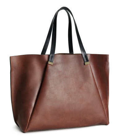 Leather Handbag - predominant colour: chocolate brown; occasions: casual, creative work; style: tote; length: handle; size: oversized; material: leather; pattern: plain; finish: plain; season: a/w 2014