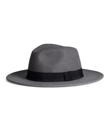 Wool Hat - predominant colour: mid grey; secondary colour: black; occasions: casual; embellishment: ribbon; style: fedora; size: standard; material: felt; pattern: plain; season: a/w 2014
