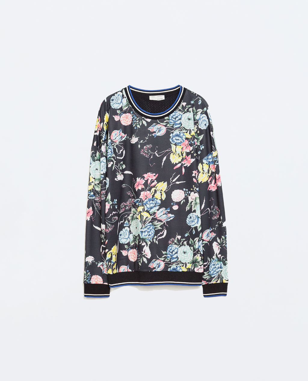 Flowers T Shirt - style: sweat top; secondary colour: black; occasions: casual, creative work; length: standard; fibres: polyester/polyamide - stretch; fit: loose; neckline: crew; predominant colour: multicoloured; sleeve length: long sleeve; sleeve style: standard; pattern type: fabric; pattern: florals; texture group: other - light to midweight; season: a/w 2014; pattern size: big & busy (top); multicoloured: multicoloured