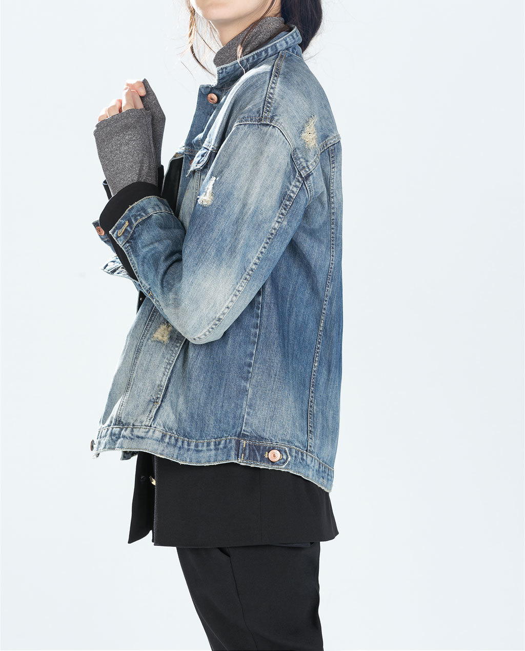 Oversized Denim Jacket - pattern: plain; fit: loose; style: denim; predominant colour: denim; occasions: casual; length: standard; fibres: cotton - 100%; collar: shirt collar/peter pan/zip with opening; sleeve length: long sleeve; sleeve style: standard; texture group: denim; collar break: high/illusion of break when open; pattern type: fabric; season: a/w 2014