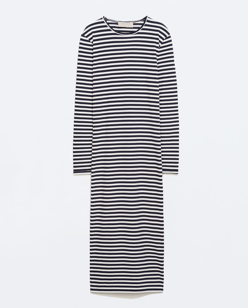 Striped Dress - style: t-shirt; length: calf length; pattern: horizontal stripes; secondary colour: white; predominant colour: navy; occasions: casual, creative work; fit: body skimming; fibres: cotton - 100%; neckline: crew; sleeve length: long sleeve; sleeve style: standard; texture group: jersey - clingy; pattern type: fabric; pattern size: standard; season: a/w 2014