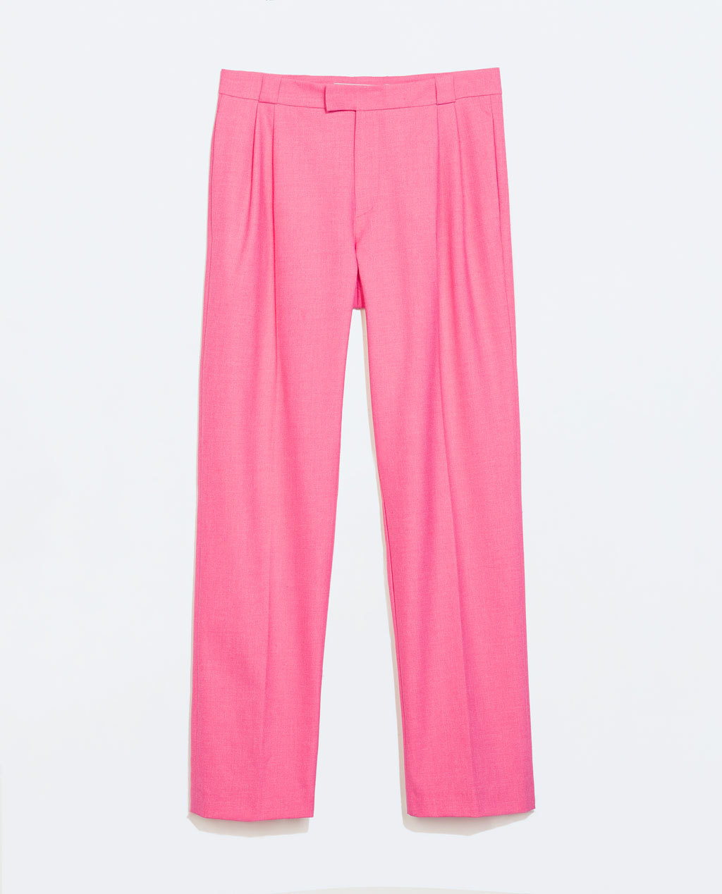 Wide Leg Trousers - length: standard; pattern: plain; pocket detail: small back pockets, pockets at the sides; waist: mid/regular rise; predominant colour: pink; occasions: casual, creative work; fibres: polyester/polyamide - stretch; waist detail: feature waist detail; fit: wide leg; pattern type: fabric; texture group: woven light midweight; style: standard; season: a/w 2014