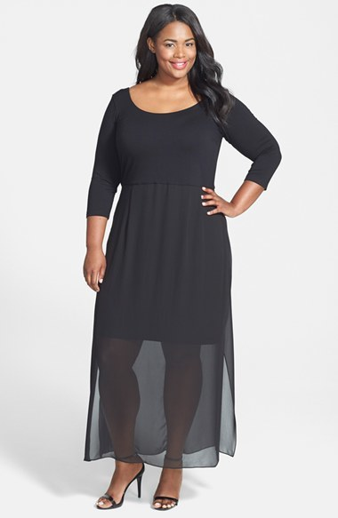 Chiffon Overlay Maxi Dress (Plus Size) - pattern: plain; style: maxi dress; length: ankle length; predominant colour: black; occasions: evening; fit: body skimming; neckline: scoop; fibres: viscose/rayon - stretch; hip detail: subtle/flattering hip detail; sleeve length: 3/4 length; sleeve style: standard; texture group: sheer fabrics/chiffon/organza etc.; pattern type: fabric; season: a/w 2014; wardrobe: event; embellishment: contrast fabric; embellishment location: top