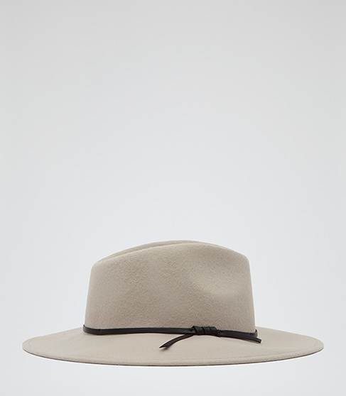 Ava Felt Fedora - predominant colour: stone; occasions: casual; type of pattern: standard; style: fedora; size: standard; material: felt; pattern: plain; season: a/w 2014