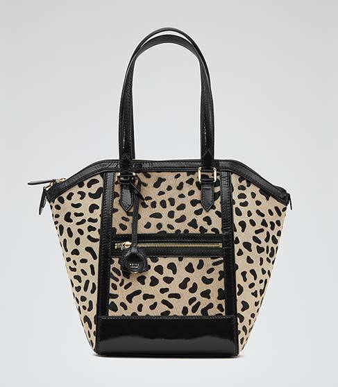 Marlo Print Animal Print Tote Bag - predominant colour: stone; secondary colour: black; occasions: casual; type of pattern: heavy; style: tote; length: shoulder (tucks under arm); size: standard; material: leather; pattern: animal print; finish: plain; season: a/w 2014; multicoloured: multicoloured