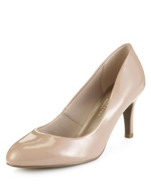 Wide Fit Almond Toe Court Shoes With Insolia - predominant colour: stone; occasions: evening, occasion, creative work; material: faux leather; heel height: high; heel: stiletto; toe: round toe; style: courts; finish: plain; pattern: plain; brand specific: wide fit; season: a/w 2014; trends: brilliant basics