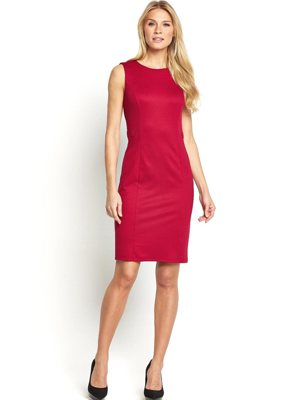 Ponte Workwear Dress, Black - style: shift; fit: tailored/fitted; pattern: plain; sleeve style: sleeveless; predominant colour: true red; occasions: evening, occasion; length: just above the knee; fibres: polyester/polyamide - stretch; neckline: crew; sleeve length: sleeveless; pattern type: fabric; texture group: other - light to midweight; season: a/w 2014