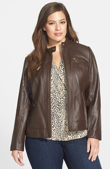 Zip Pocket Leather Jacket (Plus Size) - pattern: plain; style: single breasted blazer; predominant colour: chocolate brown; occasions: casual, creative work; length: standard; fit: tailored/fitted; fibres: leather - 100%; sleeve length: long sleeve; sleeve style: standard; texture group: leather; collar break: high/illusion of break when open; pattern type: fabric; trends: outerwear chic; season: a/w 2014